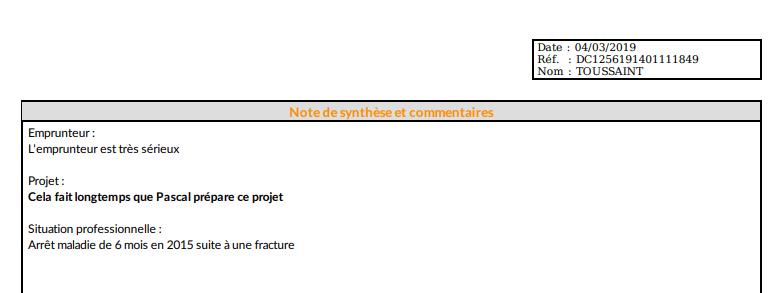 Affichage de la note de synthèse dans le dossier fianl de pret
