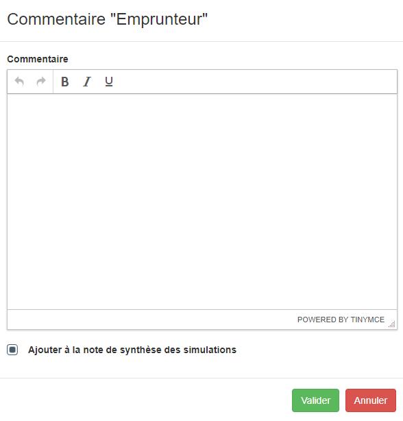 Zone de texte pour le commentaire emprunteur