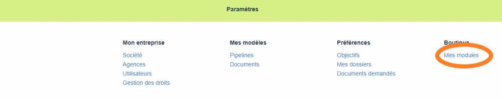 Gestion des modules