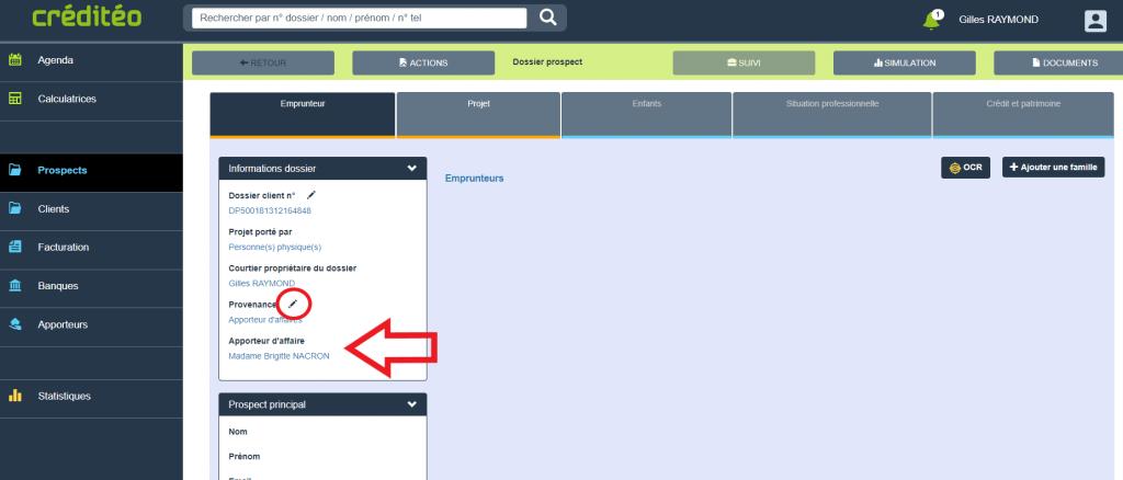 Modifier ou mettre à jour l'apporteur d'affaires IOBSP