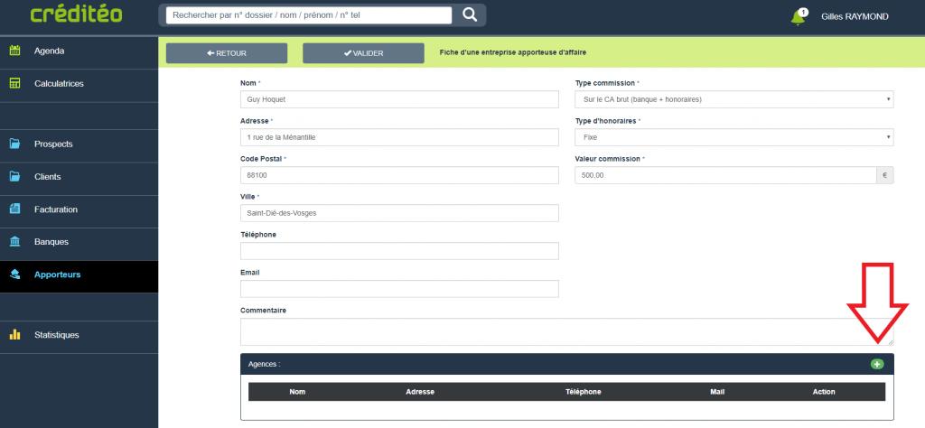 Apporteurs d'affaires : Ajouter une agence